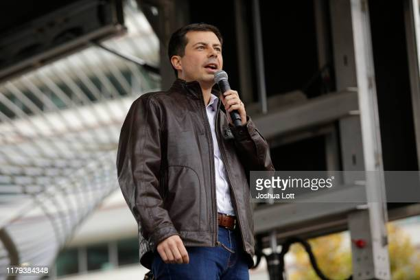 Democratic presidential candidate South Bend Indiana Mayor Pete Buttigieg speaks before the Iowa Democratic Party Liberty Justice Celebration on...