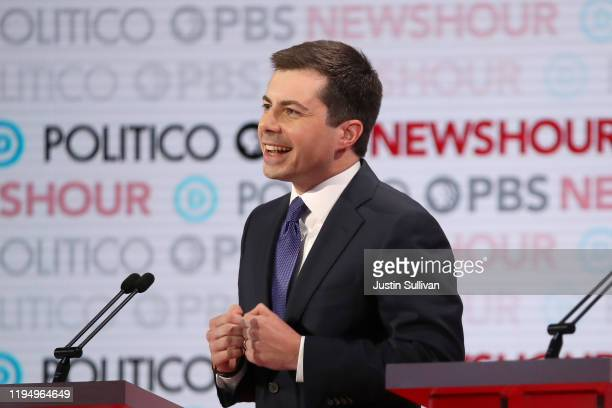 Democratic presidential candidate South Bend, Indiana Mayor Pete Buttigieg speaks during the Democratic presidential primary debate at Loyola...