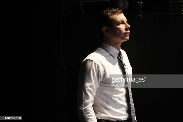 Democratic presidential candidate South Bend Indiana Mayor Pete Buttigieg waits to speak at a Democratic presidential forum on Latino issues at Cal...