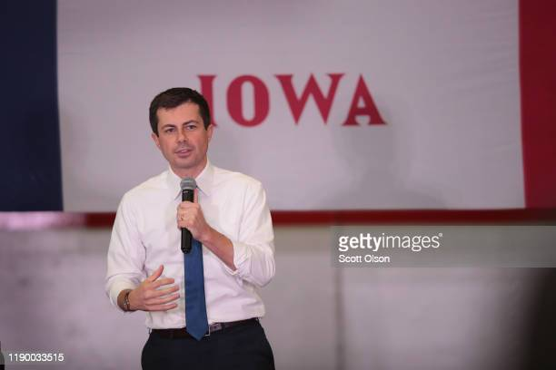 Democratic presidential candidate South Bend, Indiana Mayor Pete Buttigieg speaks to guests during a campaign stop at the YMCA on November 25, 2019...