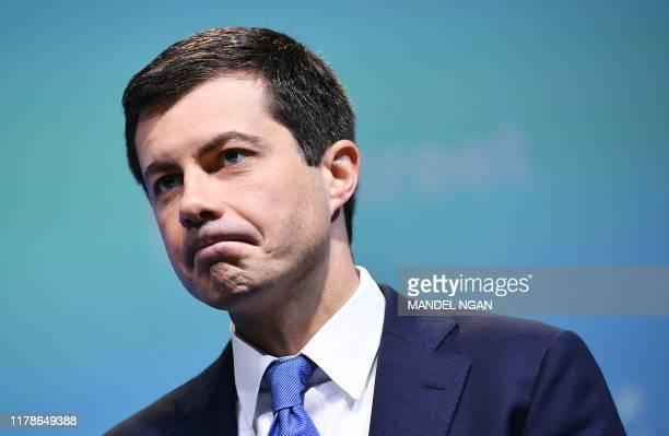 Democratic presidential candidate South Bend, Indiana Mayor Peter Buttigieg speaks during the 2019 J Street National Conference at the Walter E....