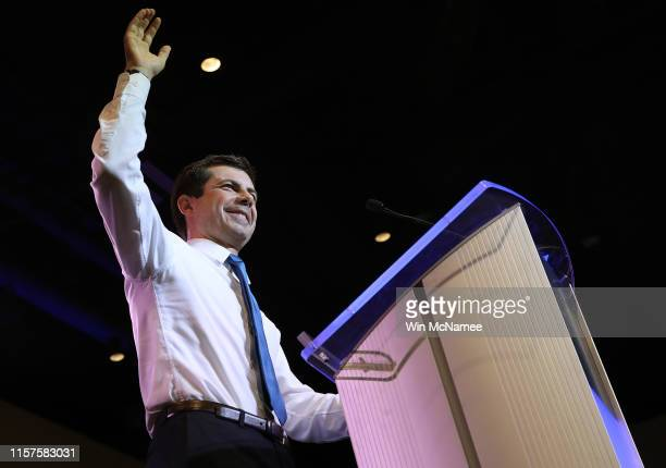 Democratic presidential candidate, South Bend Mayor Pete Buttigieg speaks at the South Carolina Democratic Party State Convention on June 22, 2019 in...