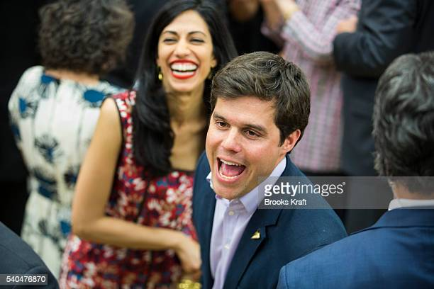 Democratic presidential candidate State Hillary Clinton's staffers Nick Merrill and Huma Abedin during a campaign rally June 4 2016 in Sacramento CA