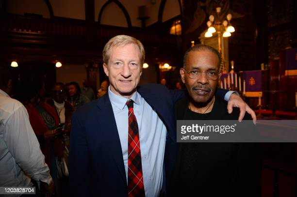 Democratic presidential candidate Tom Steyer attends A People's Town Hall hosted by SiriusXM Urban View's Joe Madison at Mother Emanuel Church on...