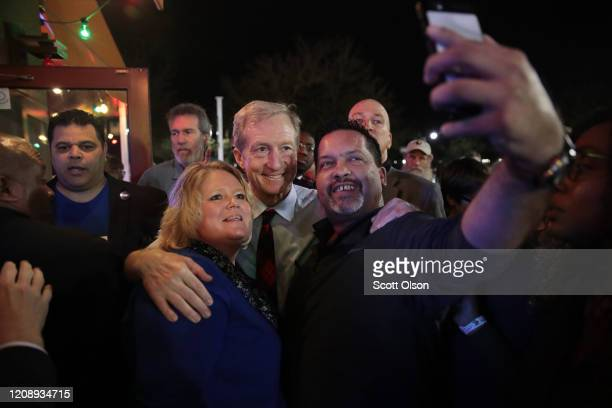 Democratic presidential candidate Tom Steyer greets guests following a campaign stop at Nacho Hippo on February 26 2020 in Myrtle Beach South...