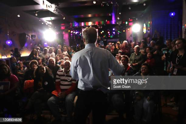 Democratic presidential candidate Tom Steyer speaks to guests during a campaign stop at Nacho Hippo on February 26 2020 in Myrtle Beach South...