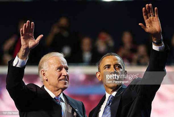 Democratic presidential candidate US President Barack Obama and Democratic vice presidential candidate US Vice President Joe Biden wave after...