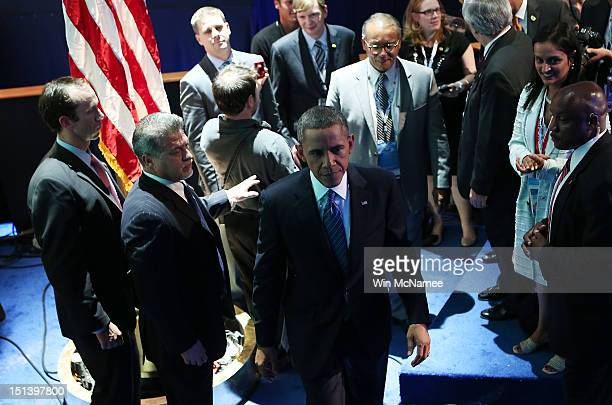 Democratic presidential candidate US President Barack Obama backstage after accepting the nomination during the final day of the Democratic National...