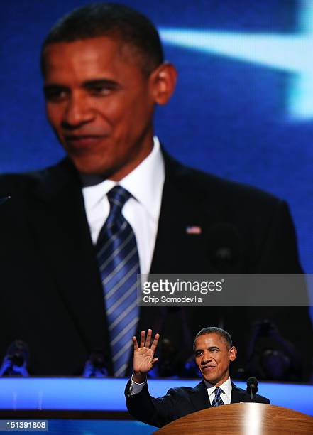Democratic presidential candidate US President Barack Obama speaks on stage to accept the nomination for president during the final day of the...