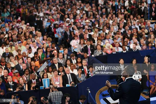 Democratic presidential candidate US President Barack Obama speaks on stage as he accepts the nomination for president during the final day of the...