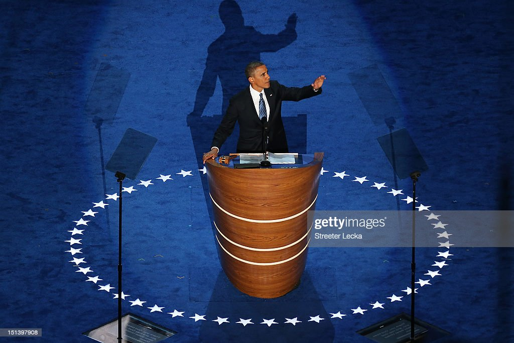 Democratic presidential candidate, U.S. President Barack Obama speaks on stage as he accepts the nomination for president during the final day of the Democratic National Convention at Time Warner Cable Arena on September 6, 2012 in Charlotte, North Carolina. The DNC, which concludes today, nominated U.S. President Barack Obama as the Democratic presidential candidate.