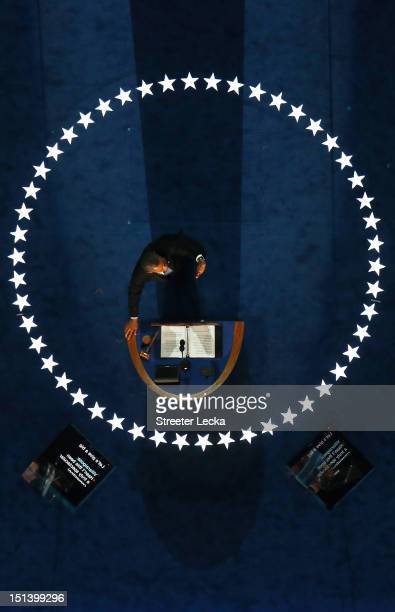 Democratic presidential candidate, U.S. President Barack Obama speaks on stage as he accepts the nomination for president during the final day of the...
