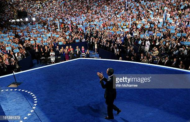 Democratic presidential candidate, U.S. President Barack Obama walks on stage during the final day of the Democratic National Convention at Time...