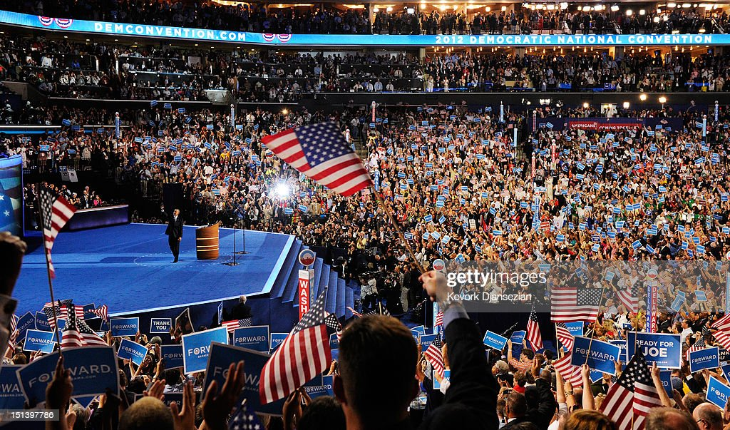 Democratic presidential candidate, U.S. President Barack Obama waves on stage after accepting the nomination during the final day of the Democratic National Convention at Time Warner Cable Arena on September 6, 2012 in Charlotte, North Carolina. The DNC, which concludes today, nominated U.S. President Barack Obama as the Democratic presidential candidate.
