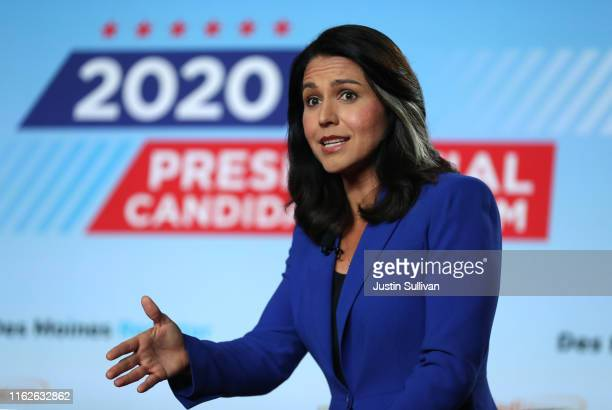 Democratic presidential candidate US Rep Tulsi Gabbard speaks during the AARP and The Des Moines Register Iowa Presidential Candidate Forum on July...