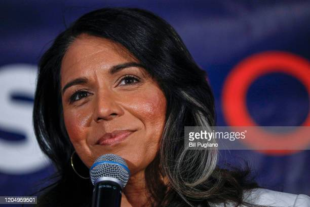 Democratic presidential candidate US Representative Tulsi Gabbard holds a Town Hall meeting on Super Tuesday Primary night on March 3 2020 in Detroit...