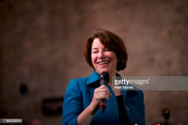 Democratic Presidential candidate US Sen Amy Klobuchar holds a meetandgreet at La Colombe Coffee Roasters on November 4 2019 in Philadelphia...