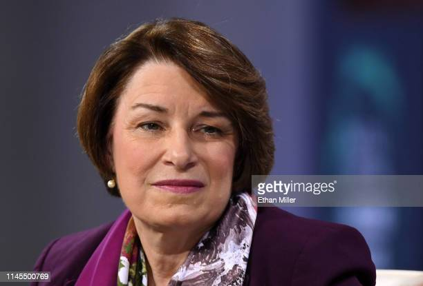 Democratic presidential candidate US Sen Amy Klobuchar listens to a question at the National Forum on Wages and Working People Creating an Economy...