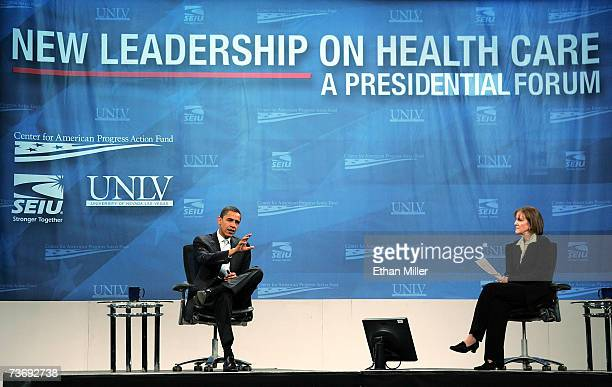 Democratic presidential candidate US Sen Barack Obama speaks as moderator Karen Tumulty a national political correspondent for Time listens during a...