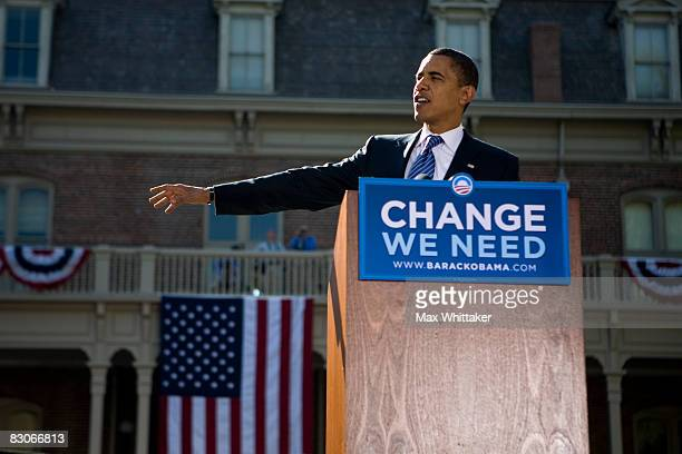 Democratic presidential candidate U.S. Sen. Barack Obama speaks during a rally at the University of Nevada September 30, 2008 in Reno, Nevada. Obama...