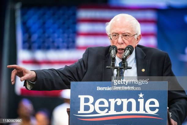 Democratic presidential candidate US Sen Bernie Sanders addresses the crowd at the Royal Family Life Center on March 14 2019 in North Charleston...