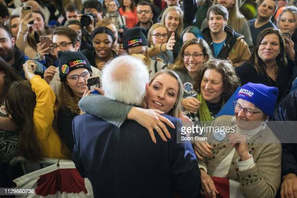 Democratic presidential candidate US Sen Bernie Sanders greets supporters following a campaign event on March 10 2019 in Concord New Hampshire...