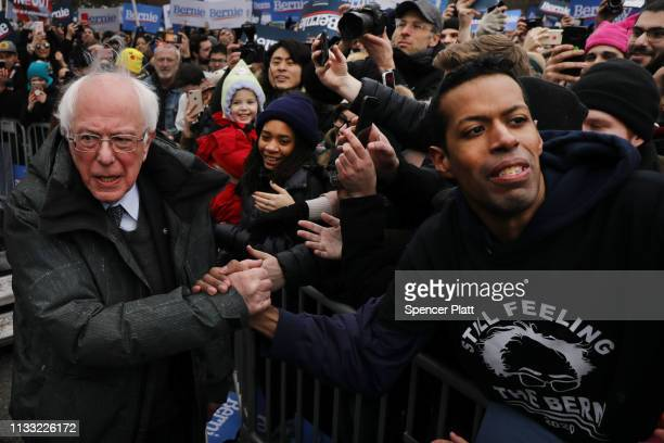 Democratic Presidential candidate US Sen Bernie Sanders greets supporters at Brooklyn College on March 02 2019 in the Brooklyn borough of New York...