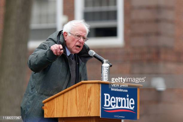 Democratic Presidential candidate US Sen Bernie Sanders holds his first presidential campaign rally at Brooklyn College on March 02 2019 in Brooklyn...
