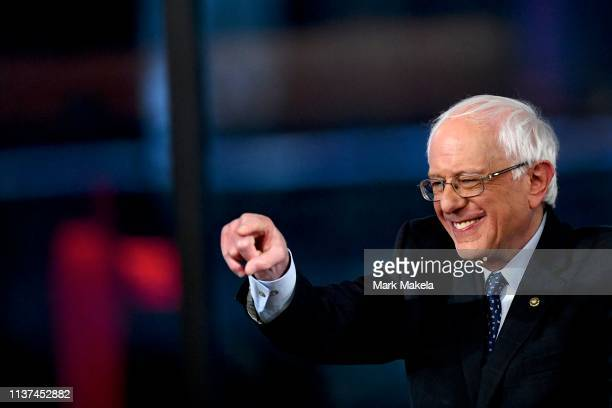 Democratic presidential candidate US Sen Bernie Sanders participates in a FOX News Town Hall at SteelStacks on April 15 2019 in Bethlehem...