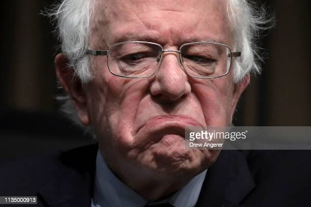 Democratic presidential candidate US Sen Bernie Sanders pauses while speaking at the National Action Network's annual convention April 5 2019 in New...