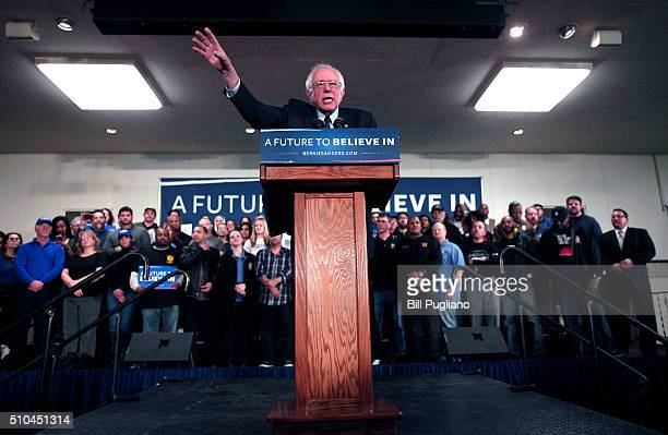 Democratic presidential candidate US Sen Bernie Sanders speaks at a campaign rally at United Auto Workers Union Local 600 February 15 2016 in...