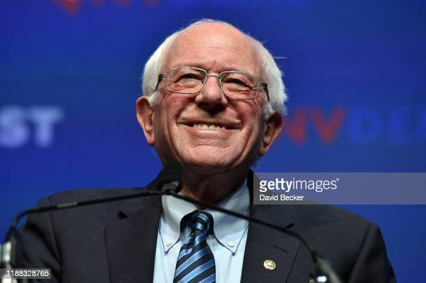 Democratic presidential candidate US Sen Bernie Sanders speaks during the Nevada Democrats' First in the West event at Bellagio Resort Casino on...