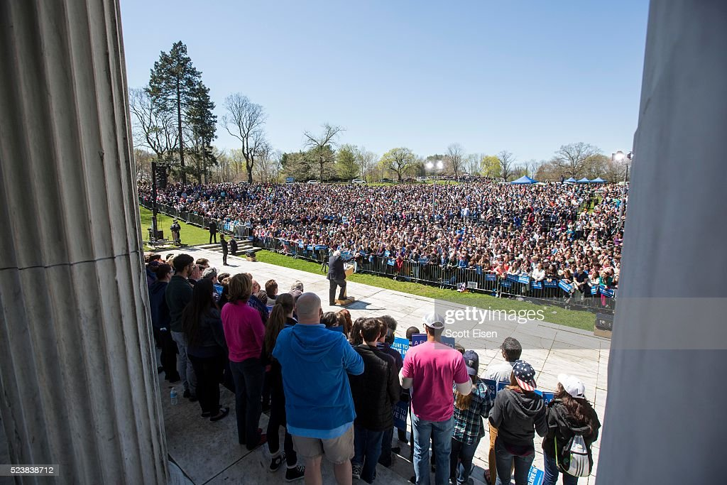 Democratic presidential candidate, U.S. Sen. Bernie Sanders (D-VT) speaks during a rally at Roger Williams Park on April 24, 2016 in Providence, Rhode Island. A crowd of more than 7,000 attended the event, according to campaign officials.