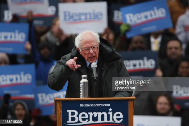 Democratic Presidential candidate U.S. Sen. Bernie Sanders speaks to supporters at Brooklyn College on March 02, 2019 in the Brooklyn borough of New...