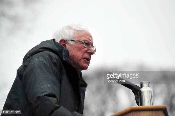 Democratic Presidential candidate US Sen Bernie Sanders speaks to supporters at Brooklyn College on March 02 2019 in the Brooklyn borough of New York...