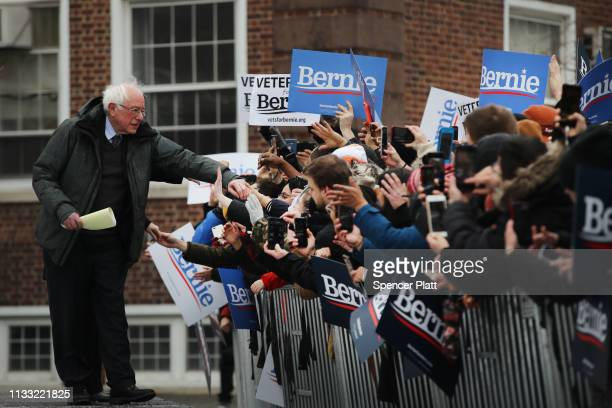 Democratic Presidential candidate US Sen Bernie Sanders walks on stage to speak at a rally at Brooklyn College on March 02 2019 in the Brooklyn...