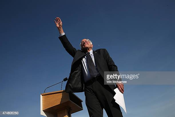 Democratic presidential candidate US Sen Bernie Sanders waves to supporters after officially announcing his candidacy for the US presidency during an...