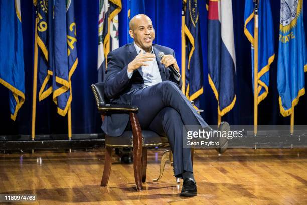 Democratic presidential candidate, U.S. Sen. Cory Booker addresses the audience at the Environmental Justice Presidential Candidate Forum at South...