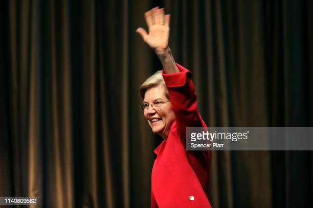 Democratic presidential candidate US Sen Elizabeth Warren attends the National Action Network's annual convention on April 5 2019 in New York City A...