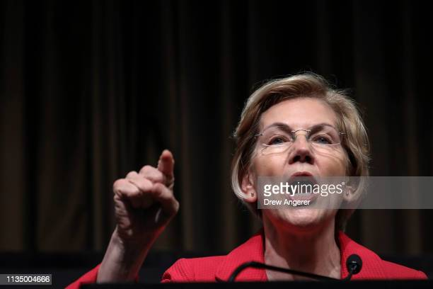 Democratic presidential candidate US Sen Elizabeth Warren speaks at the National Action Network's annual convention April 5 2019 in New York City A...