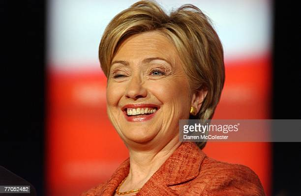 Democratic Presidential candidate US Sen Hillary Clinton smiles during a candidates debate September 26 2007 at Dartmouth University in Hanover New...
