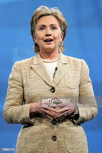 Democratic presidential candidate US Sen Hillary Rodham Clinton speaks during a health care forum at the Cox Pavilion at UNLV March 24 2007 in Las...