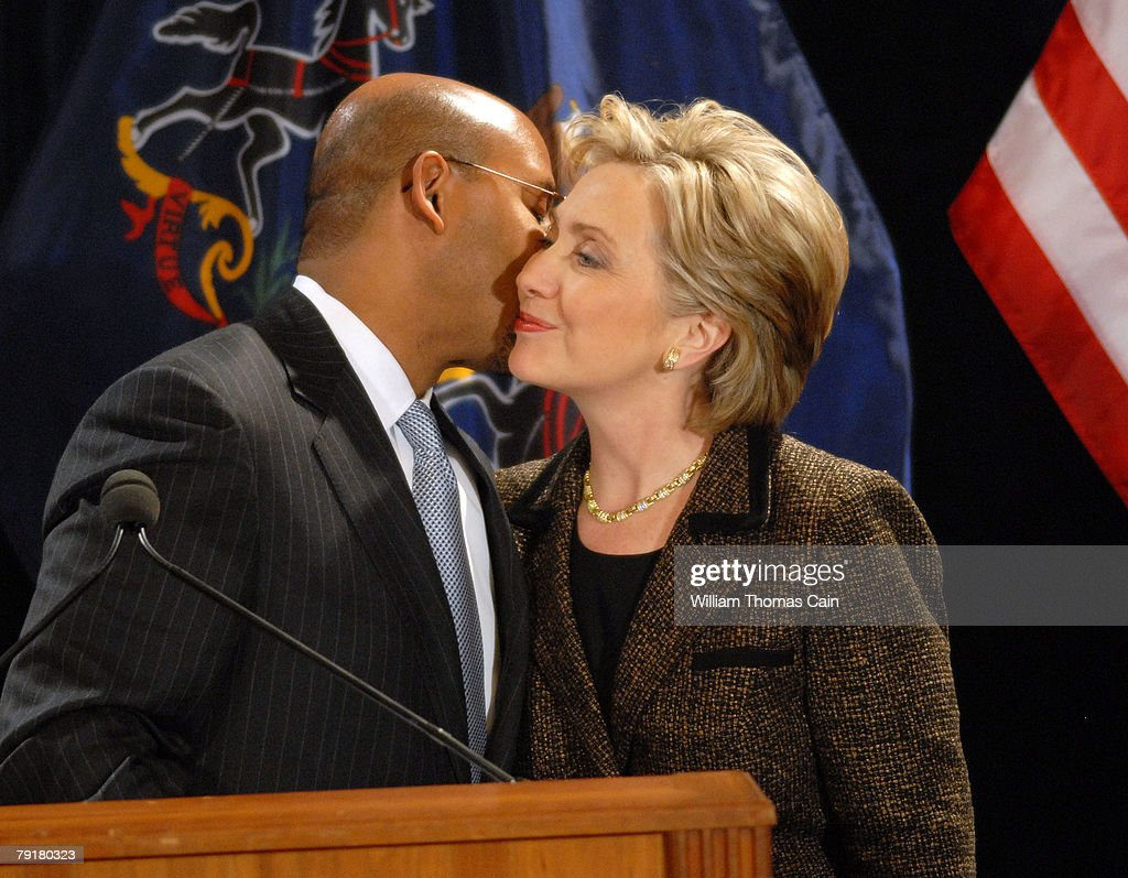 Democratic Presidential candidate U.S. Sen. Hillary Rodham Clinton (D-NY) is greeted by Philadelphia Mayor Michael Nutter at Philadelphia City Hall January 23, 2008 in Philadelphia, Pennsylvania. Rendell had been approached by Obama campaign workers for support, but cited his long standing relationship with the Clinton's as the reason for his endorsement.