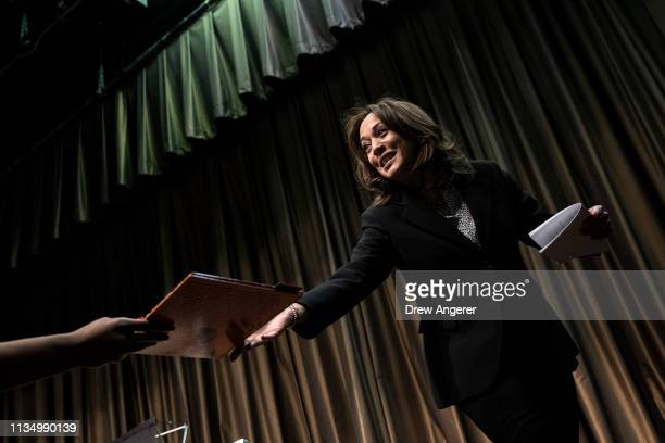 Democratic presidential candidate US Sen Kamala Harris exits the stage after speaking at the National Action Network's annual convention April 5 2019...
