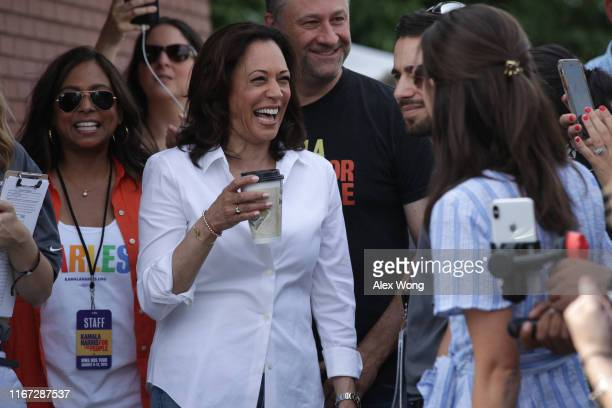 Democratic presidential candidate U.S. Sen. Kamala Harris , her husband Douglas Emhoff and her sister Maya Harris prior to her delivering a campaign...
