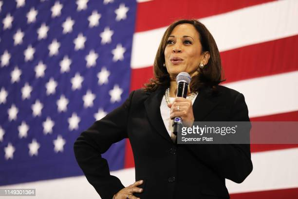 Democratic presidential candidate U.S. Sen. Kamala Harris speaks at a campaign stop on May 15, 2019 in Nashua, New Hampshire. The Democrat and...