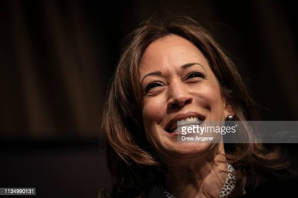Democratic presidential candidate US Sen Kamala Harris speaks at the National Action Network's annual convention April 5 2019 in New York City A...