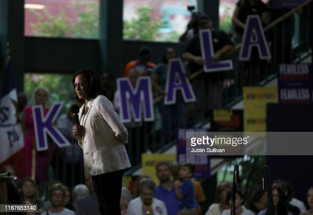 "Democratic presidential candidate U.S. Sen. Kamala Harris speaks during a ""For the People"" rally on August 12, 2019 in Davenport, Iowa. Kamala Harris..."