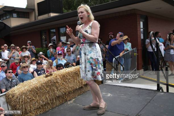 Democratic presidential candidate U.S. Sen. Kirsten Gillibrand delivers a campaign speech at the Des Moines Register Political Soapbox at the Iowa...
