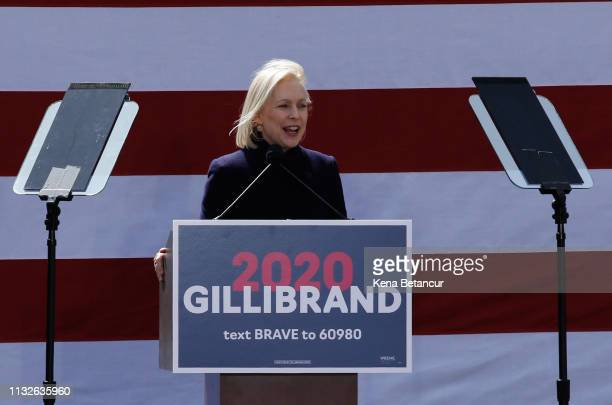 Democratic presidential candidate US Sen Kirsten Gillibrand speaks during a rally in front of Trump International Hotel Tower on March 24 2019 in New...
